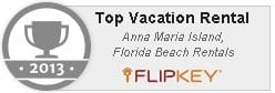 Text: 2013 Top Vacation Rental, Flipkey