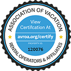 Text: Association of Vacation Rental Operators and Affiliates, View Certification at avroa.org/certify, Property no 120076